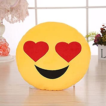 INFInxt Heart Eyes Smiley face Stuffed Soft Pillow Yellow Round Emoji Plush Toy