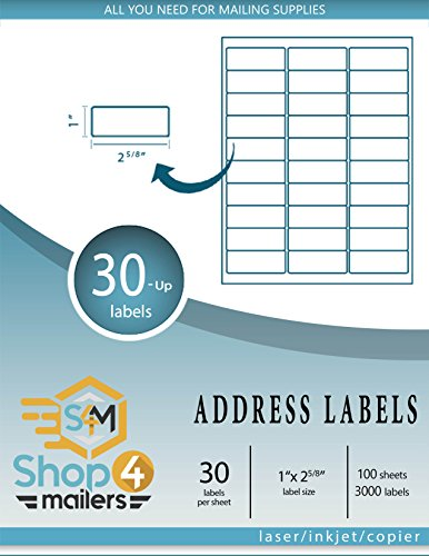 (Shop4Mailers 30-Up White Shipping Labels 1