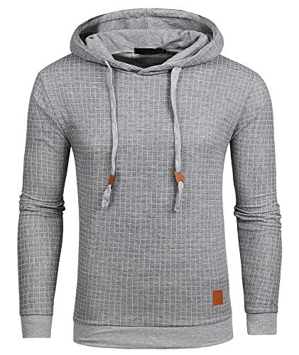 Satankud Mens Pullover Hoodie Long Sleeve Hooded Sweatshirt Square Pattern Light Grey US M (Asian Size - Squares Pullover