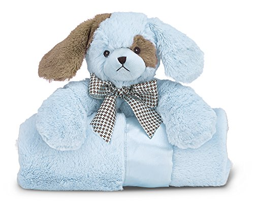 Bearington Baby Lil' Spout Cuddle Me Sleeper, Blue Puppy Dog Large Size Security Blanket, 28.5