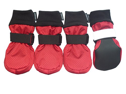 LONSUNEER Winter Paw Protector Dog Boots Waterproof Soft Sole and Nonslip Set of 4 Color Red Size Large