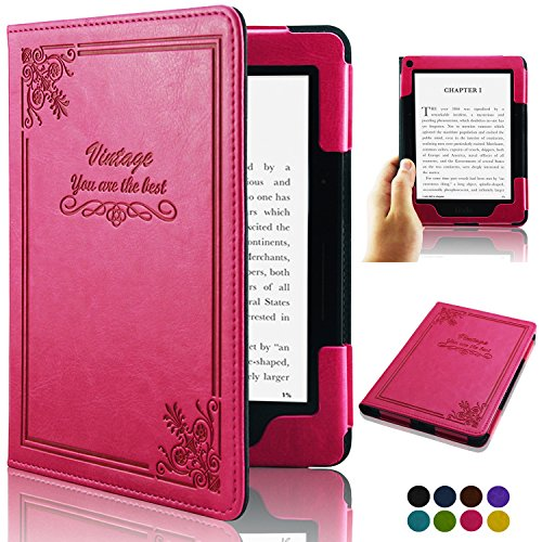 ACdream Kindle Voyage [Vintage] Case, Folio Premium PU Leather Book Style Case Cover for Kindle Voyage (2014 Version) with Auto Wake Sleep feature, Vintage Hot Pink