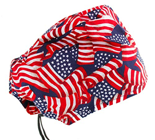 (Extra Room Bouffant Stars & Stripes USA American Flag Scrub Cap Hat)