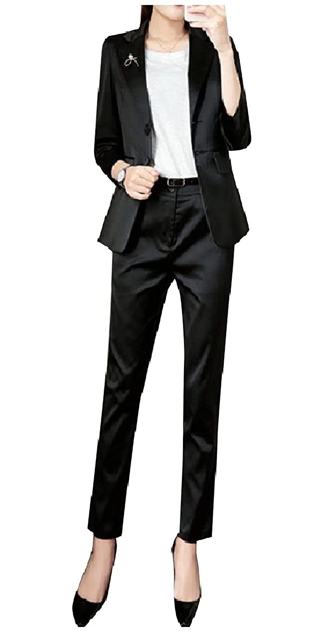Yusky Womens Solid Tenths Pants Blazer Satin 2 Pieces Outfits Suit