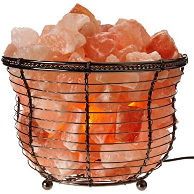WBM Himalayan Glow Natural Air Purifying Himalayan Tall  Round Style Basket salt lamp with Salt Chunks, Bulb and Dimmer control
