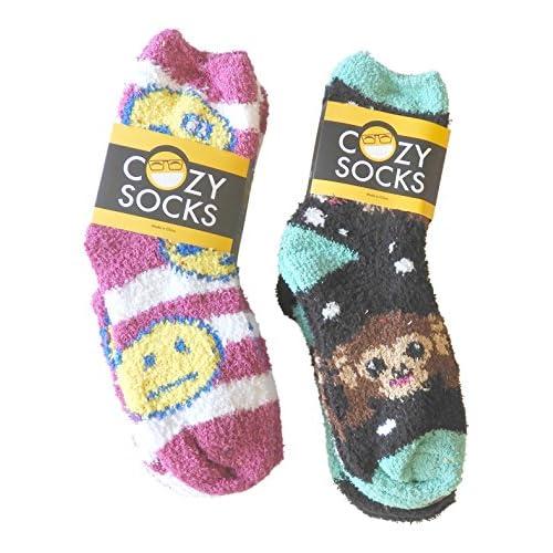 (6 Pair) Emoji Premium Fluffy COZY Super Soft Fuzzy Slipper Socks