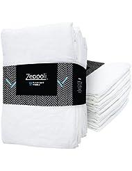 "Zeppoli 12-Pack Flour Sack Towels - 31"" x 31"" Kitchen Towels - Absorbent White Dish Towels - 100% Ring Spun Cotton Bar Towels"