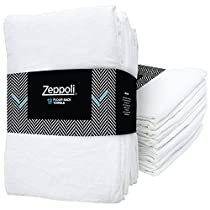 Zeppoli 12-Pack Flour Sack Towels - 31 x 31 Kitchen Towels - Absorbent White Dish Towels - 100% Ring Spun Cotton Bar Towels