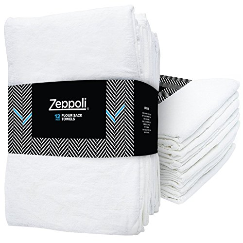 Zeppoli 12-Pack Flour Sack Towels - 31'' x 31'' Kitchen Towels - Absorbent White Dish Towels - 100% Ring Spun Cotton Bar Towels by Zeppoli