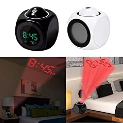 Projection Alarm Clock, Digital LCD Voice Talking Function, Alarm/Snooze/Temperature Display,LED Wall/Ceiling Projection with Different Time Modes 12hr/24hr By Teepao