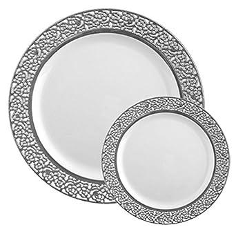 TTG 50-Piece Plastic Dinnerware Set | Lace Collection | (25) Dinner Plates  sc 1 st  Amazon.com & Amazon.com: TTG 50-Piece Plastic Dinnerware Set | Lace Collection ...
