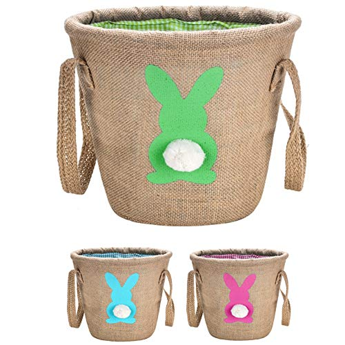 Personalized Easter Bunny Basket,Jute Cloth Tote Bag Carrying Eggs for Easter,Easter Bucket(Green)