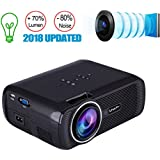 TOPRUI 2018 Mini LED Movie Video Projector, +30% Brighter Lumens Full HD Portable Projector 1080P with 170 Big Display for Outdoor/ Home Theater HDMI,TV,SD Card,AV,VGA,USB, iPhone Android Laptop
