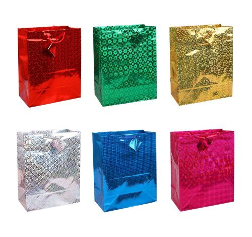 Holographic Gift Bag - 12 Medium Holographic Gift Bag - All Occasion Bags