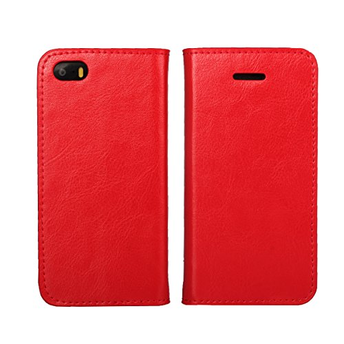 iPhone 5S Case, iPhone 5 Case, iPhone SE Wallet Case, Jaorty Genuine Leather Folio Flip Wallet Case Cover Book Design with Kickstand Feature & Card Slots/Cash Compartment (4')-Red