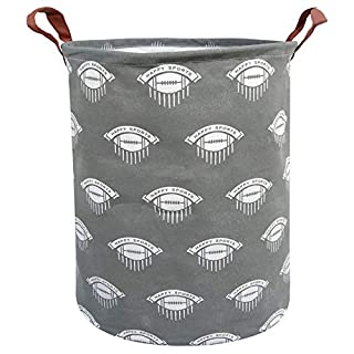 BOOHIT Storage Baskets,Canvas Fabric Laundry Hamper-Collapsible Storage Bin with Handles,Toy Organizer Bin for Kid's Room,Office,Nursery Hamper, Home Decor (Ribbon Rugby)