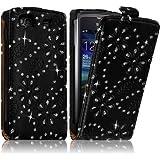 Seluxion - Housse Coque Etui Pour Samsung Wave 3 Style Diamant Couleur Noir