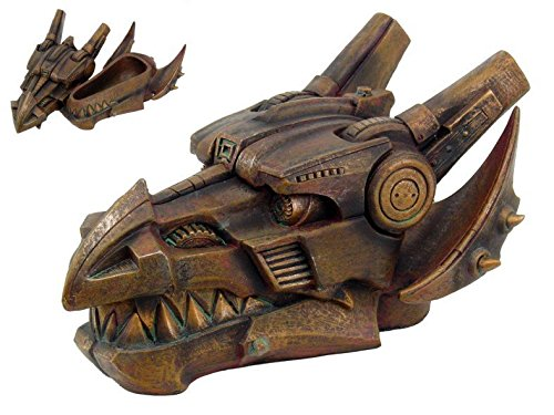 9.5 Inch Steampunk Mechanical Dragon Head Box Statue Figurine
