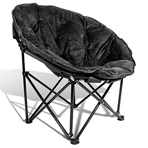 Extra Comfort Folding Moon Chair Saucer With Suede Pad For Any Living Room, Dorm or Apartment Space