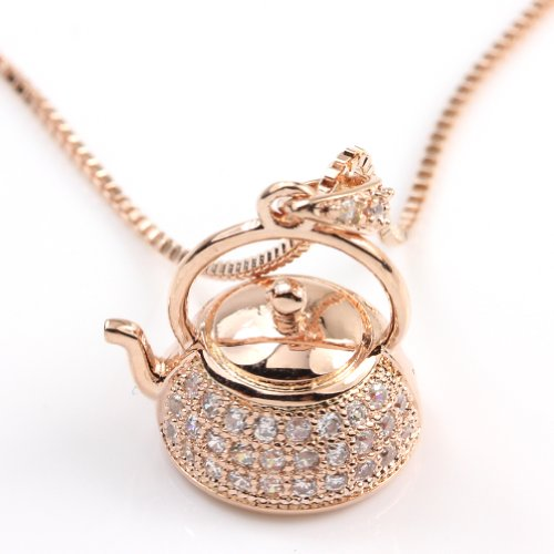FC Rose Gold GP Women Girl Paved CZ Crystal Pendant Cute Hollow Teapot Pendant Chain Necklace