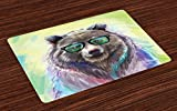 Ambesonne Animal Place Mats Set of 4, Funny Cool Low Wild Hipster Bear with Spectacles Colorful Portrait, Washable Fabric Placemats for Dining Room Kitchen Table Decor, Lime Green Blue Gray Purple