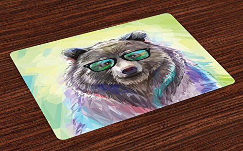 Wild Animals Placemat - Ambesonne Animal Place Mats Set of 4, Funny Cool Low Wild Hipster Bear with Spectacles Colorful Portrait, Washable Fabric Placemats for Dining Room Kitchen Table Decor, Lime Green Blue Gray Purple