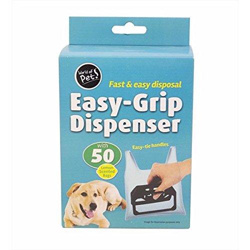 Dispensador de fácil agarre–Mundo de Pets–Poop Scooper con 50bolsas de limpiar