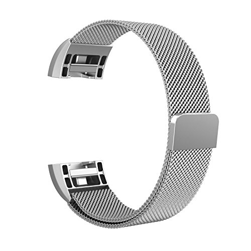 "Fitbit Charge 2 Milanese Bands Metal Silver, Swees Replacement Small & Large (5.5"" - 9.9"") Stainless Steel Magnetic Wristband Bracelet Watch Band for Fitbit Charge 2, Silver"