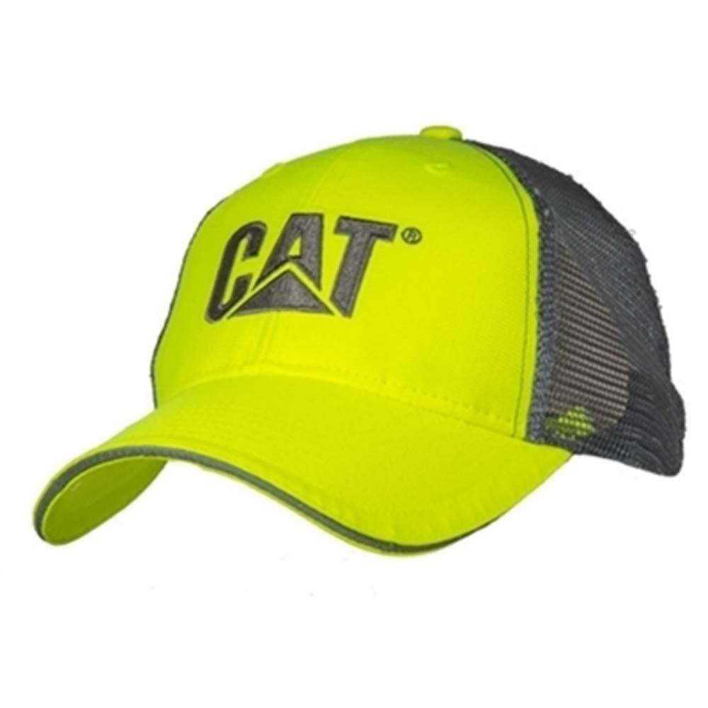 BD Caterpillar CAT Equipment Hi-Vis Safety Yellow Electric Ave Mesh Cap//Hat