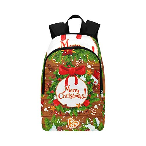 ENEVOTX Christmas Tree Holly Wreath New Year Casual Daypack Travel Bag College School Backpack for Mens and Women