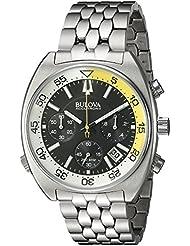 Bulova Mens Snorkel Quartz Stainless Steel Watch, Color:Silver-Toned (Model: 96B237)