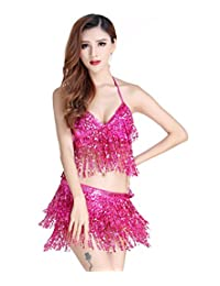 Astage Sexy Sequin Bra Hip Scarf Performance Fitness Pole Party Club Dancing Wear