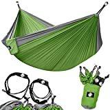 Automotive : Legit Camping - Double Hammock - Lightweight Parachute Portable Hammocks for Hiking, Travel, Backpacking, Beach, Yard Gear Includes Nylon Straps & Steel Carabiners (Graphite/Lime Green)