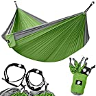 Legit Camping – Double Hammock – Lightweight Parachute Portable Hammocks for Hiking , Travel , Backpacking , Beach , Yard . Gear Includes Nylon Straps & Steel Carabiners (Grey/Lime Green)