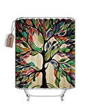 70 x 78 shower curtain - Colorful Tree Shower Curtain Tree of Life Polyester Fabric Bathroom Curtain with Hooks, Waterproof Mildew Resistant (70