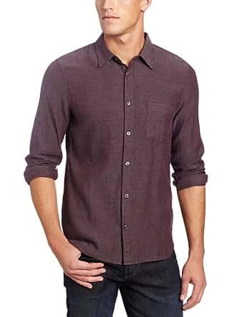 7 For All Mankind Men's Striped Pocket Shirt, Dark Merlot, S