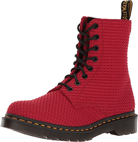 Dr. Martens Women's Page 8 Eye Boot,Dark Red Waffle Cotton,UK 8 M