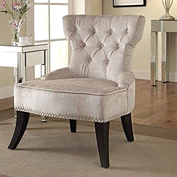 AVE SIX Colton Button Tufted Back Hourglass Chair with Nailhead and Piping Accents, Brilliant Parchment
