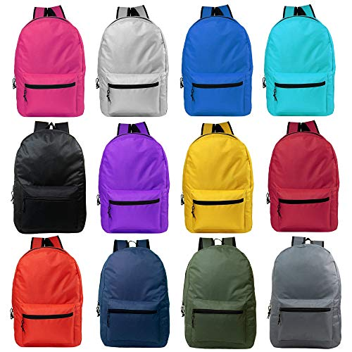 Wholesale Classic 15 Inch Basic Backpack in 12 Assorted Colors - Bulk Case of 24 Bookbags