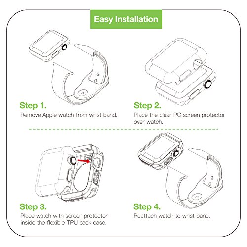 Apple Watch 3 Case, iVAPO 2-Pack Apple Watch Case with Screen Protector Cover Anti-scratch 360° Shock Absorption Hard Protective Bumper Case for Apple Watch Series 3 42mm Black (Need Stronger Press) by iVAPO (Image #4)