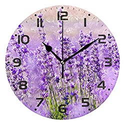 Naanle Purple Flower Floral Lavender Field Flowers Round/Square/Diamond Acrylic Wall Clock Oil Painting Home Office School Decorative Creative Dual Use Clock Art
