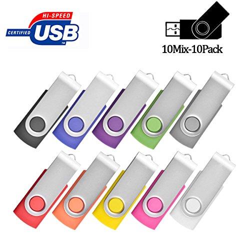 Flash Drive 4GB Bulk, Pen Drive AreTop USB2.0 Flash Drive Memory Stick Swivel Thumb Drives for Fold Date Storage (Pack 10Pcs-Multicolors)