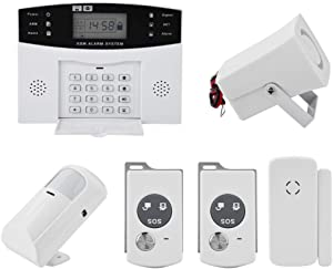 Wireless GSM Home Security Anti-Burglar House Door Alarm System with Auto Dial Motion Detectors and More for Complete Security (US Plug)