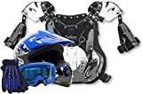 Youth Peewee Offroad Gear Combo Helmet Gloves Goggles Chest Protector Motocross ATV Dirt Bike Blue - Large