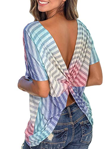 Neck Open Shirt Striped (MIHOLL Women's Sexy Backless Short Sleeve Tops Color Block Open Back Twist Knotted Casual Shirt (Multicolor, Small))