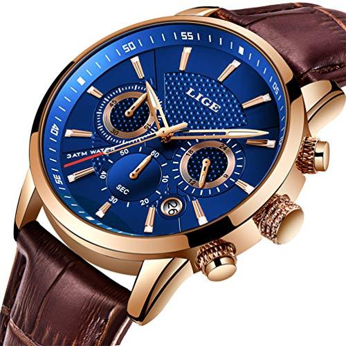 LIGE Men's Watches Fashion Luxury Military Sport Analog Quartz Chronograph Watch for Men Classic Casual Waterproof Watch…