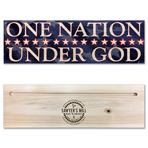 One Nation Under God - Handmade Wood Block Sign for Home Wall Decor - Patriotic ()