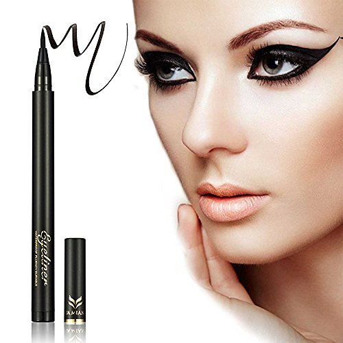 Felt Tip Liquid Eyeliner (Ladygo Waterproof Liquid Eyeliner Pencil Precision Liquid Felt Tip Quick Drying Eye Liner Pen Long Lasting, Black-1# 0.08 Fl.Oz)