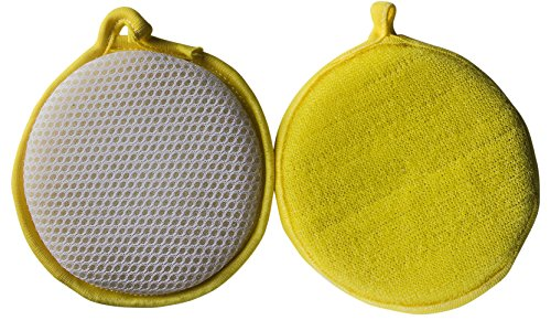 Powerful Round Dishwashing Sponge Scouring Pads Set of 2 by Tidyhouse - Removes