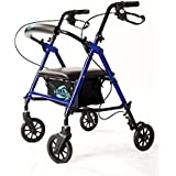 "Super Light Rollator Lightweight Aluminum Loop Brake Folding Walker Adult W/height Adjustable Seat By Legs and Arms w/ 6"" Wheels By Healthline Trading"